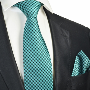 Turquoise Checked Tie and Pocket Square Set
