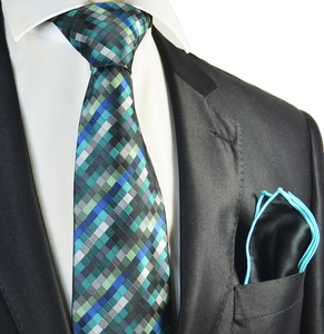 Turquoise Checked Tie with Contrast Rolled Pocket Square