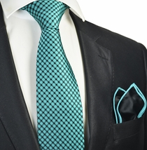 Turquoise Checked Tie with Contrast Rolled Pocket Square Set
