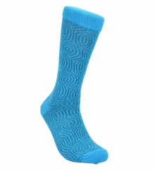 Turquoise Cotton Dress Socks by Paul Malone