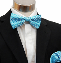 Turquoise Men's Bow Tie and Pocket Square (BH948)