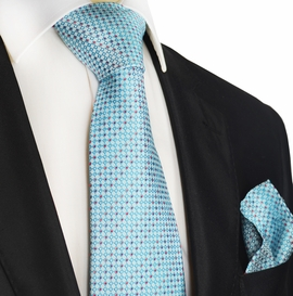 Turquoise Micro-checked Silk Tie Set by Paul Malone