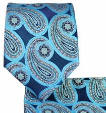 Turquoise Necktie and Pocket Square Set