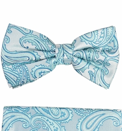 Turquoise Paisley Bow Tie and Pocket Square Set by Paul Malone (BT399H)