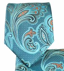 Turquoise Paisley Necktie and Pocket Square