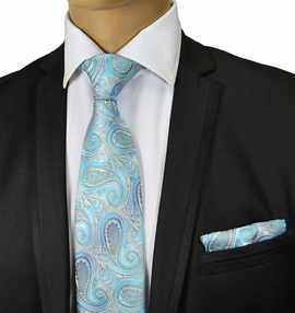 Turquoise Paisley Silk Tie and Pocket Square by Paul Malone