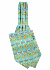 Turquoise Patterned Ascot Tie and Pocket Square Set