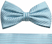 Turquoise Paul Malone Bow Tie and Pocket Square Set . 100% Silk (BT889H)