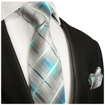 Turquoise Plaid Silk Tie Set . Paul Malone