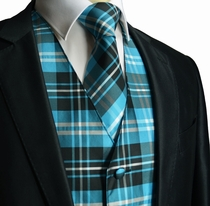 Turquoise Plaid Tuxedo Vest and Necktie Set