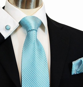 Turquoise Silk Necktie Set by Paul Malone (889CH)