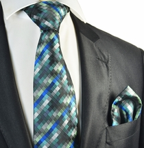 Turquoise Tie and Pocket Square Set