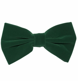 Velvet Bow Tie and Pocket Square . Green