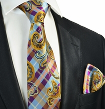 Violet, Blue and Gold Tie and Pocket Square Set