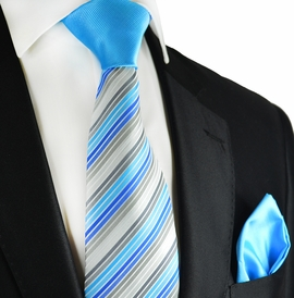Vivid Blue and Grey Contrast Knot Tie Set by Paul Malone