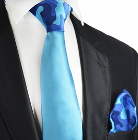 Vivid Blue Contrast Knot Tie and Pocket Square by Paul Malone