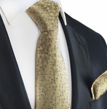 Warm Sand Floral Silk Tie and Pocket Square by Paul Malone