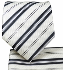 White and Black Striped Tie and Pocket Square Set
