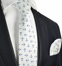 White and Blue Anchor Cotton Tie with Pocket Square by Paul Malone