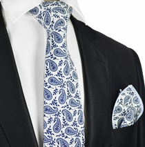 White and Navy Paisley Cotton Tie Set by Paul Malone
