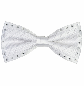 White Crystal Bow Tie Set by Steven Land
