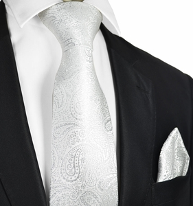 White Paisley Formal Men's Tie and Pocket Square