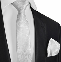 White Paisley Men's Tie and Pocket Square Set