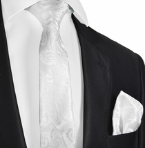 White Paisley Necktie and Pocket Square Set (Q600-A)