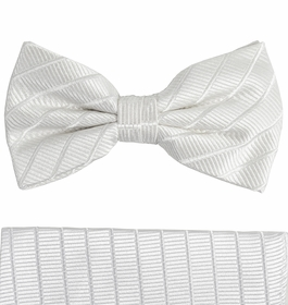 White Paul Malone Silk Bow Tie and Pocket Square Set