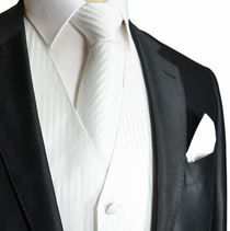 White Striped Tuxedo Vest, Tie and Pocket Square