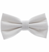 White Velvet Bow Tie and Pocket Square Set