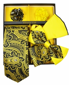 Yellow and Black Paisley Tie Set Gift Box