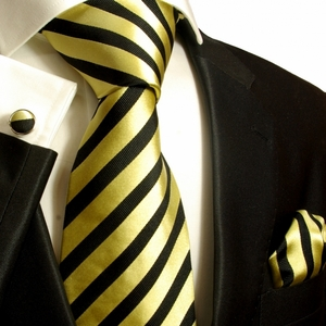 Yellow and Black Striped Silk Necktie Set by Paul Malone (335CH)