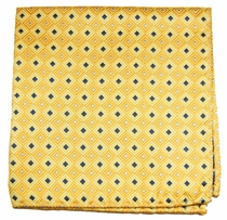Yellow and Blue Mens Silk Pocket Square (H689)