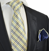 Yellow and Blue Tie with Contrast Rolled Pocket Square Set
