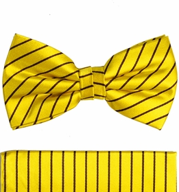Yellow and Brown Striped Bow Tie Set by Paul Malone (BT564H)