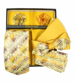 Yellow and Brown Tie Set Gift Box