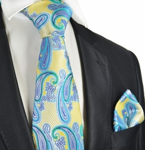 Yellow and Turquoise Paisley Tie and Pocket Square