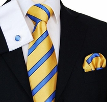 Yellow & Blue Neck Tie Set by Paul Malone (843CH)