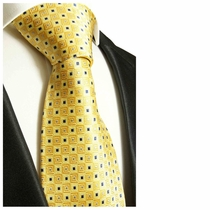 Yellow & Blue Paul Malone Designer Silk Tie (689)