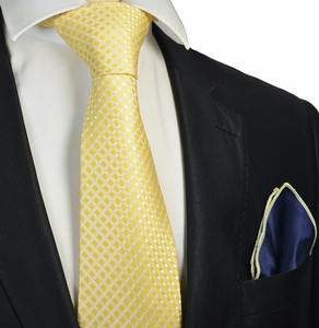 Yellow Checked Tie with Contrast Rolled Pocket Square Set