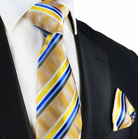 Yellow-Gold Striped Silk Tie Set by Paul Malone