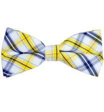 Yellow, Navy and White Cotton Bow Tie by Paul Malone