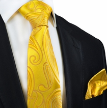 Yellow Paisley Silk Tie and Pocket Square by Paul Malone Red Line