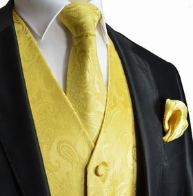 Yellow Paisley Tuxedo Vest Set with Tie and Pocket Square