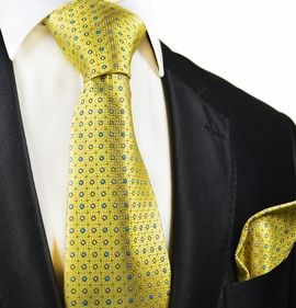 Yellow Polka Dots Silk Tie and Pocket Square by Paul Malone