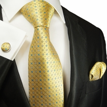 Yellow Polka Dotted Silk Tie Set by Paul Malone