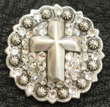 120206432 Christian Cross Berry Rhinestone Concho  Crystal