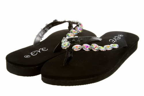 1257 Women Summer Bling Rhinestone Flip Flops - Black