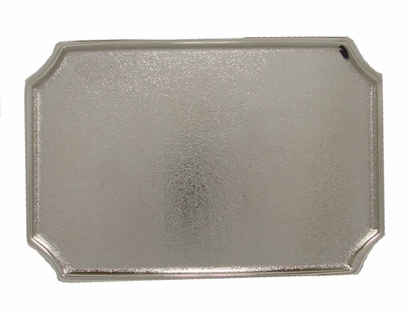 12855 Shiny Silver Plain Rectangular Belt Buckle